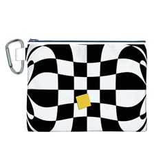 Dropout Yellow Black And White Distorted Check Canvas Cosmetic Bag (l)