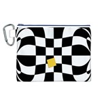 Dropout Yellow Black And White Distorted Check Canvas Cosmetic Bag (L) Front