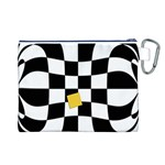 Dropout Yellow Black And White Distorted Check Canvas Cosmetic Bag (L) Back