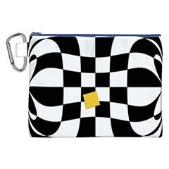 Dropout Yellow Black And White Distorted Check Canvas Cosmetic Bag (XXL)