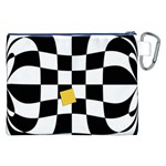 Dropout Yellow Black And White Distorted Check Canvas Cosmetic Bag (XXL) Back