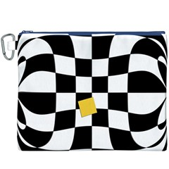 Dropout Yellow Black And White Distorted Check Canvas Cosmetic Bag (xxxl)