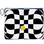 Dropout Yellow Black And White Distorted Check Canvas Cosmetic Bag (XXXL) Front
