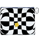 Dropout Yellow Black And White Distorted Check Canvas Cosmetic Bag (XXXL) Back