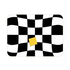 Dropout Yellow Black And White Distorted Check Double Sided Flano Blanket (mini)