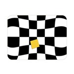 Dropout Yellow Black And White Distorted Check Double Sided Flano Blanket (Mini)  35 x27 Blanket Back