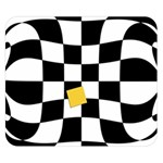 Dropout Yellow Black And White Distorted Check Double Sided Flano Blanket (Small)  50 x40 Blanket Back