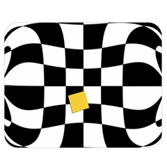Dropout Yellow Black And White Distorted Check Double Sided Flano Blanket (medium)