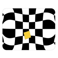 Dropout Yellow Black And White Distorted Check Double Sided Flano Blanket (Large)