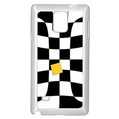 Dropout Yellow Black And White Distorted Check Samsung Galaxy Note 4 Case (White)