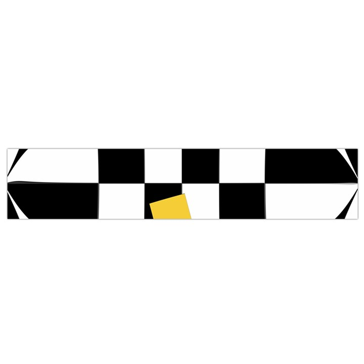 Dropout Yellow Black And White Distorted Check Flano Scarf (Small)