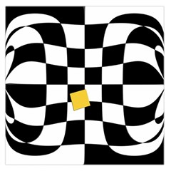 Dropout Yellow Black And White Distorted Check Large Satin Scarf (Square)