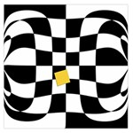 Dropout Yellow Black And White Distorted Check Large Satin Scarf (Square) Front