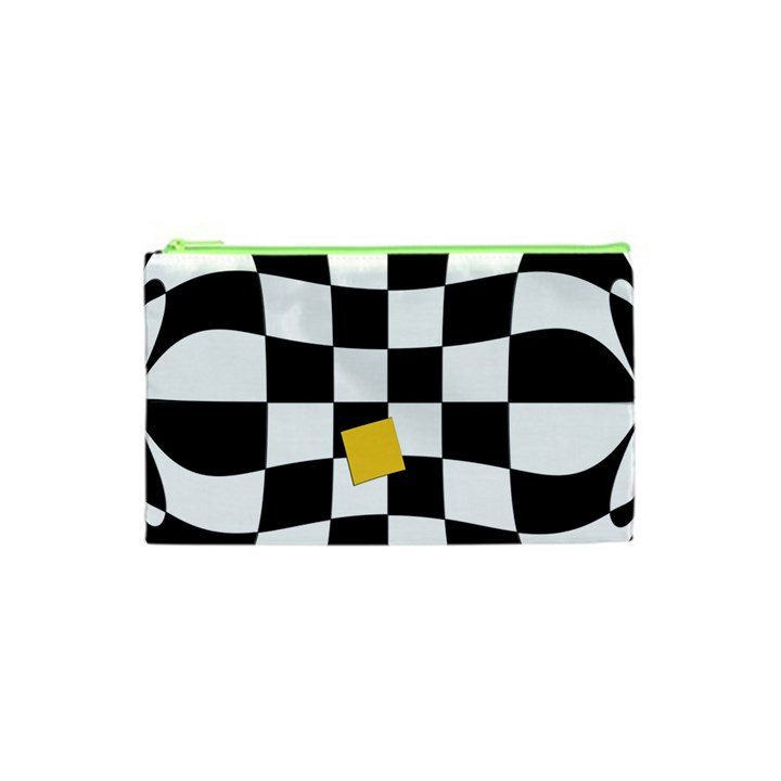 Dropout Yellow Black And White Distorted Check Cosmetic Bag (XS)