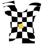 Dropout Yellow Black And White Distorted Check Women s V-Neck Cap Sleeve Top Front