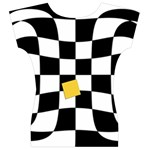 Dropout Yellow Black And White Distorted Check Women s V-Neck Cap Sleeve Top Back