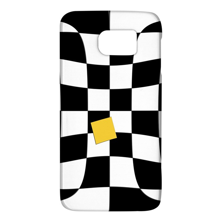 Dropout Yellow Black And White Distorted Check Galaxy S6