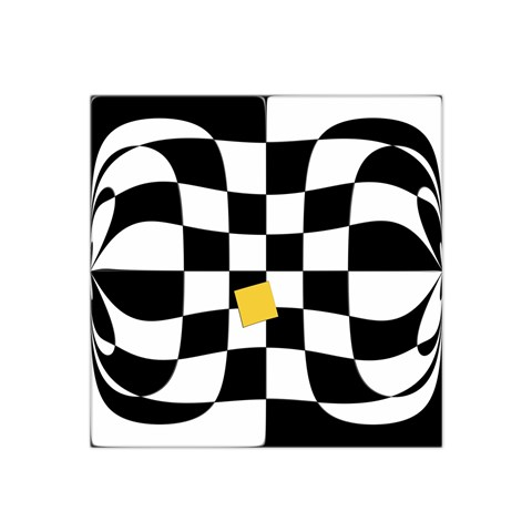Dropout Yellow Black And White Distorted Check Satin Bandana Scarf