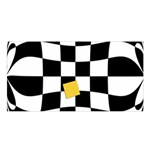 Dropout Yellow Black And White Distorted Check Satin Shawl Front