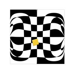 Dropout Yellow Black And White Distorted Check Small Satin Scarf (Square)