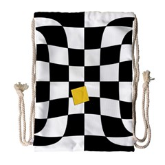 Dropout Yellow Black And White Distorted Check Drawstring Bag (Large)