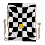 Dropout Yellow Black And White Distorted Check Drawstring Bag (Large) Back