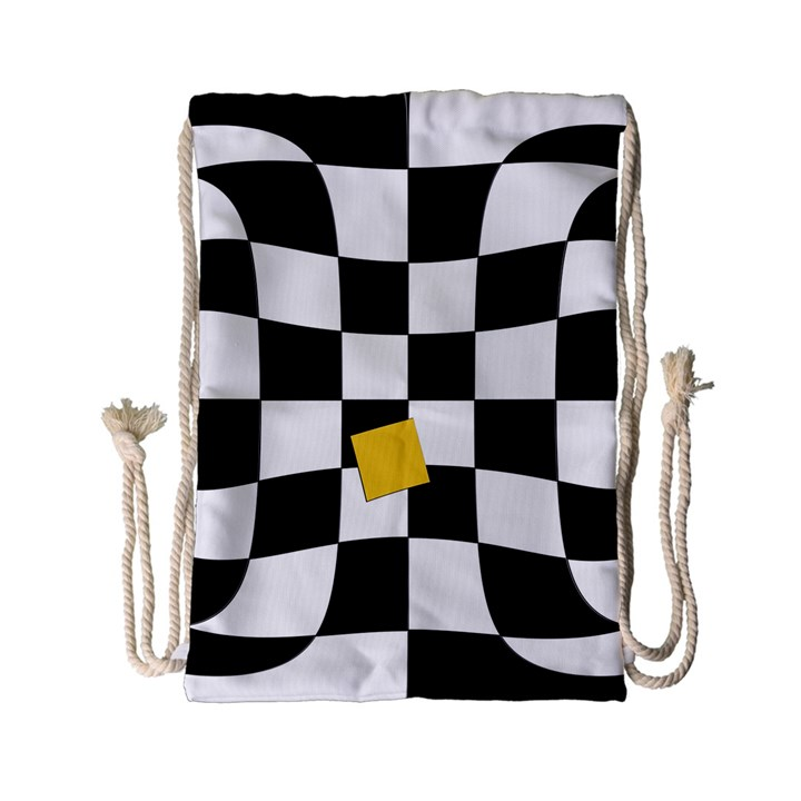 Dropout Yellow Black And White Distorted Check Drawstring Bag (Small)