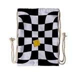Dropout Yellow Black And White Distorted Check Drawstring Bag (Small) Back