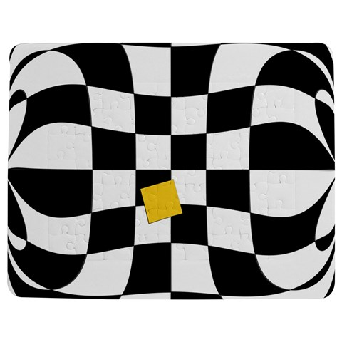 Dropout Yellow Black And White Distorted Check Jigsaw Puzzle Photo Stand (Rectangular)