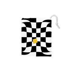 Dropout Yellow Black And White Distorted Check Drawstring Pouches (xs)