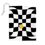 Dropout Yellow Black And White Distorted Check Drawstring Pouches (Extra Large) Back