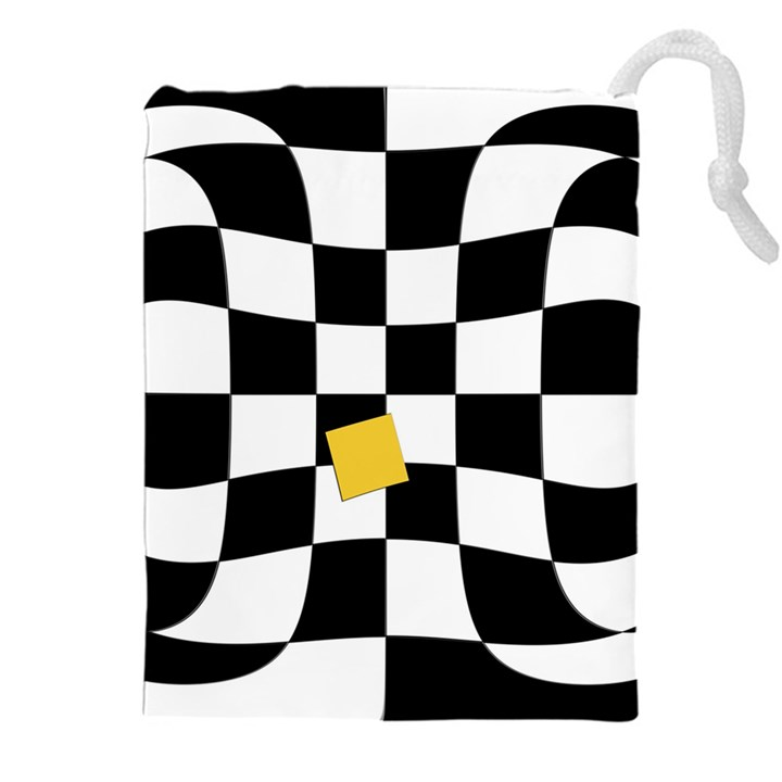 Dropout Yellow Black And White Distorted Check Drawstring Pouches (XXL)