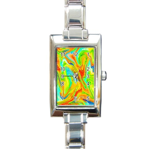 Happy Multicolor Painting Rectangle Italian Charm Watch
