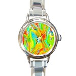 Happy Multicolor Painting Round Italian Charm Watch Front