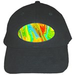 Happy Multicolor Painting Black Cap Front