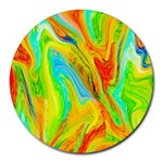 Happy Multicolor Painting Round Mousepads Front