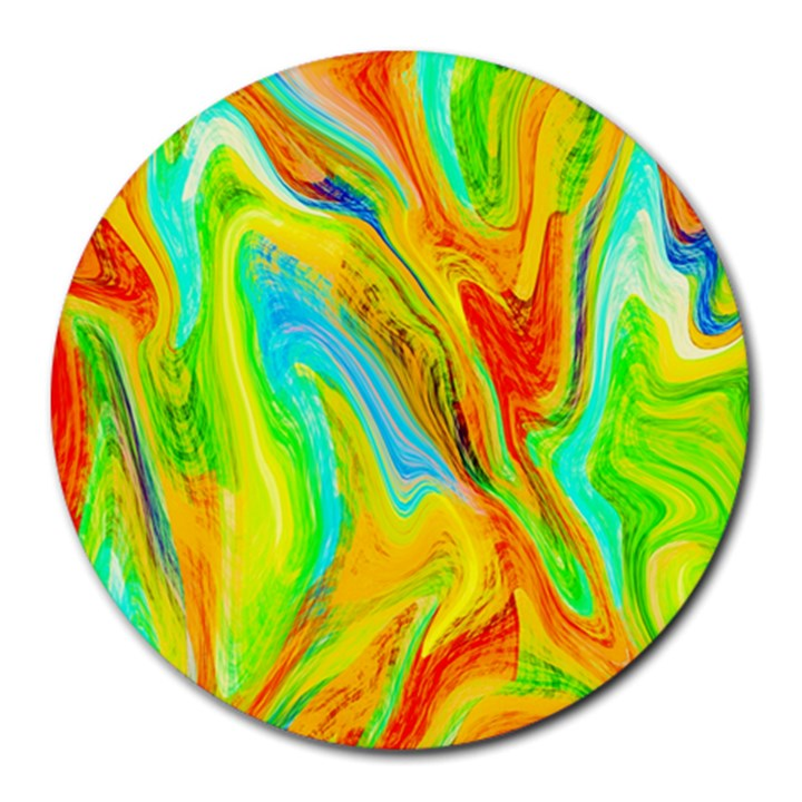 Happy Multicolor Painting Round Mousepads