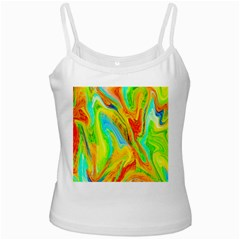 Happy Multicolor Painting White Spaghetti Tank