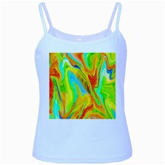 Happy Multicolor Painting Baby Blue Spaghetti Tank