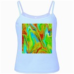 Happy Multicolor Painting Baby Blue Spaghetti Tank Front