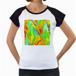 Happy Multicolor Painting Women s Cap Sleeve T Front