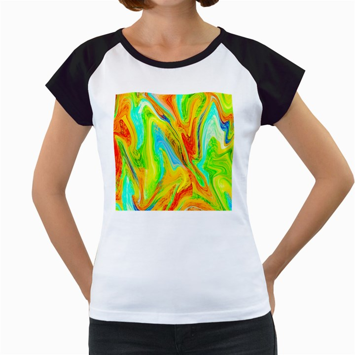 Happy Multicolor Painting Women s Cap Sleeve T