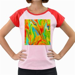 Happy Multicolor Painting Women s Cap Sleeve T Shirt