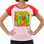 Happy Multicolor Painting Women s Cap Sleeve T-Shirt Front