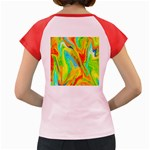 Happy Multicolor Painting Women s Cap Sleeve T-Shirt Back