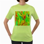 Happy Multicolor Painting Women s Green T-Shirt Front