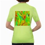 Happy Multicolor Painting Women s Green T-Shirt Back