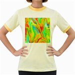 Happy Multicolor Painting Women s Fitted Ringer T-Shirts Front
