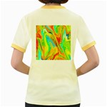 Happy Multicolor Painting Women s Fitted Ringer T-Shirts Back