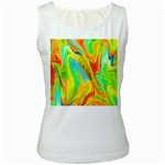 Happy Multicolor Painting Women s White Tank Top Front